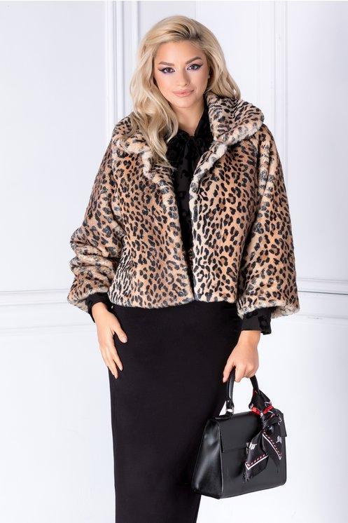 Jacheta din blanita ecologica cu animal print