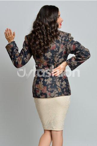 Jacheta din Stofa cu Imprimeuri Florale