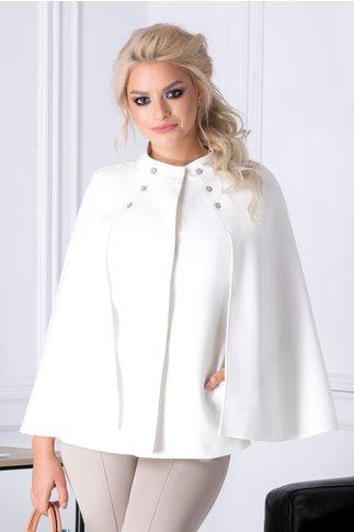 Jacheta Ginette alba cu maneci tip capa