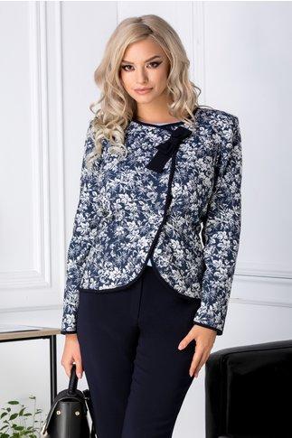 Jacheta Ginette bleumarin cu imprimeu floral gri