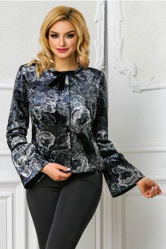 Jacheta Ginette din catifea cu imprimeuri gri