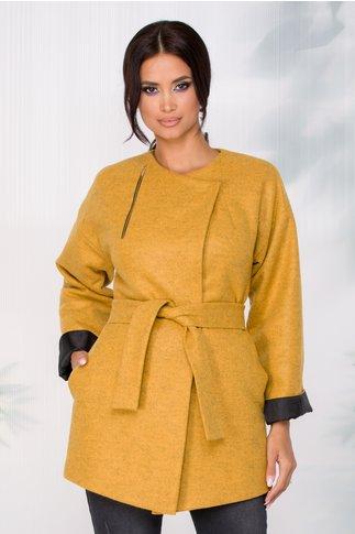 Jacheta Ginette eleganta galben mustar cu fermoar decorativ