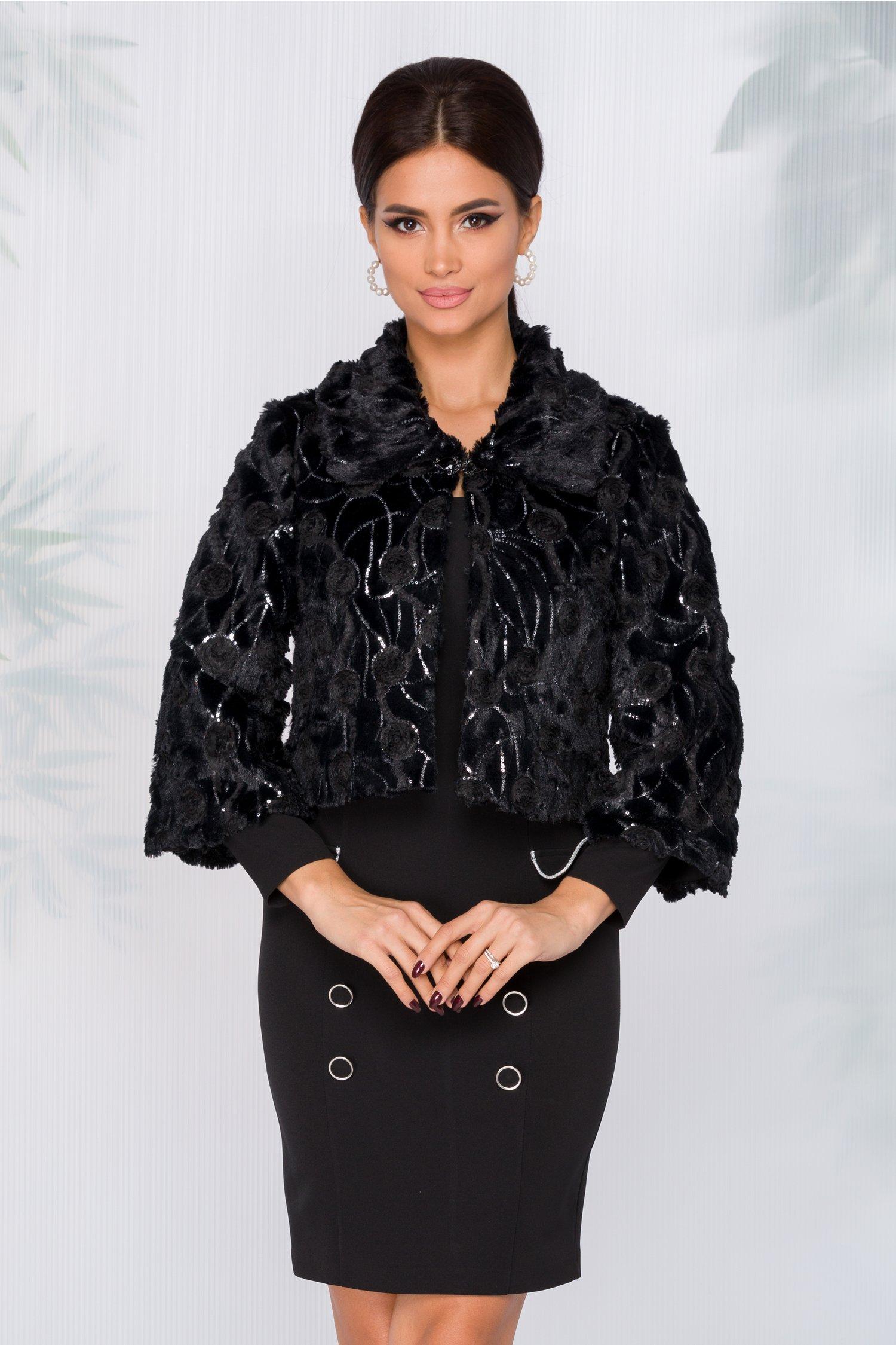 Jacheta neagra din blanita cu paiete