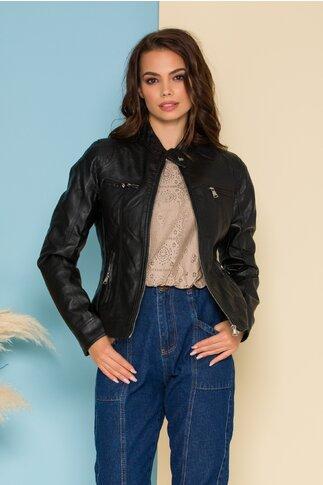 Jacheta neagra din piele ecologica cu fermoare functionale verticale