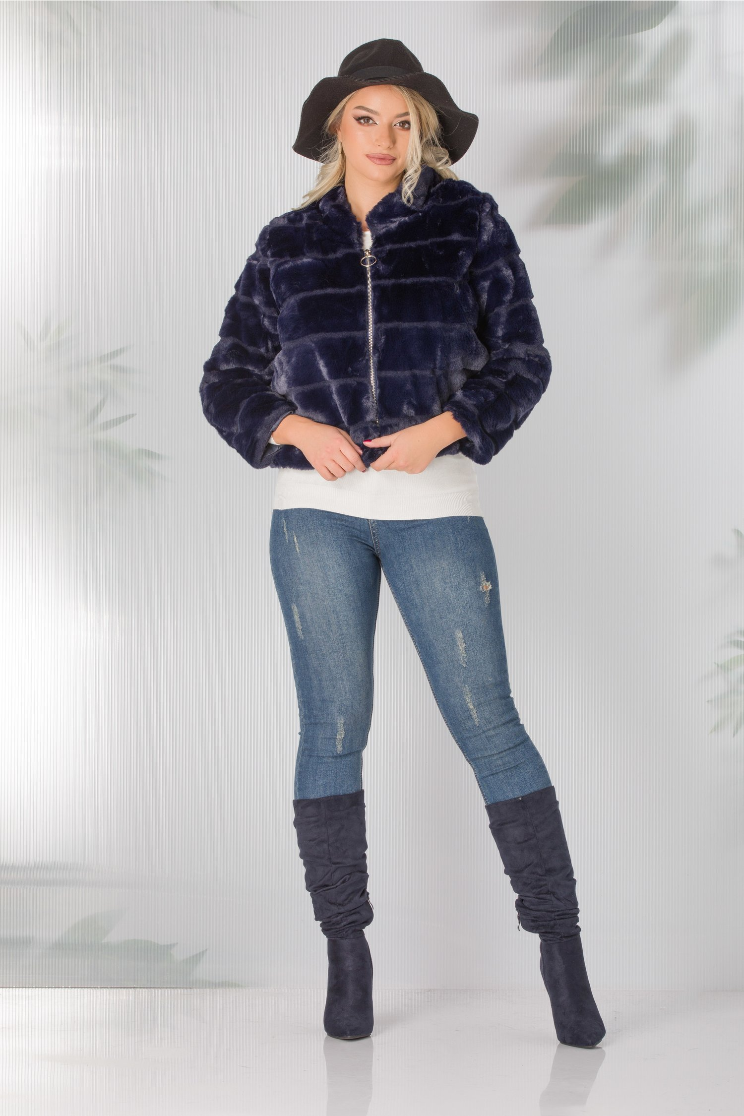 Jacheta scurta bleumarin din blanita ecologica