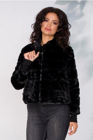 Jacheta scurta neagra din blanita ecologica