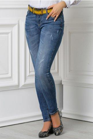 Jeans Aza albastri mulati casual