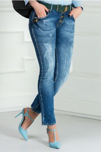 Jeans Siri albastri casual de zi