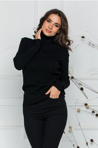 Maleta Adelina neagra cu model in relief