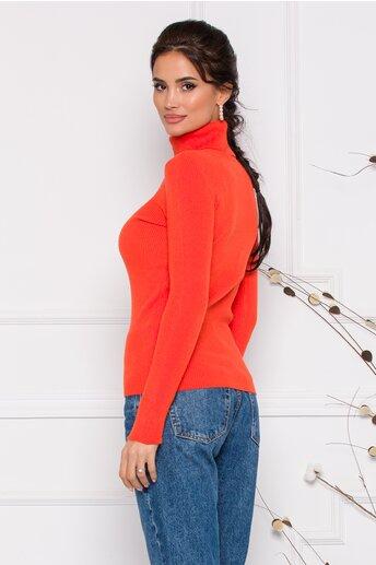 Maleta Gia orange cu guler si textura reiata