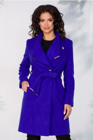 Palton Akita albastru indigo cu cordon in talie