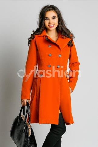 Palton Alicia Oranj Elegant cu Nasturi Vintage