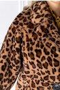 Palton animal print din blana ecologica