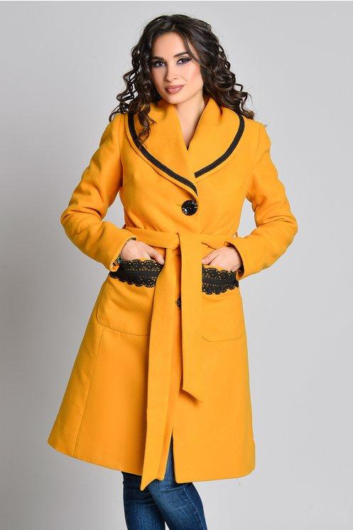 Palton Aura Carina galben mustar cu broderie si cordon
