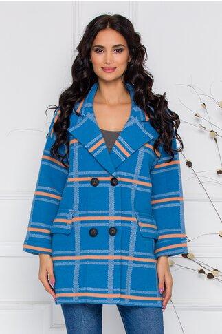 Palton Azaka bleu cu carouri orange