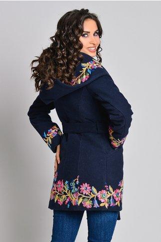 Palton bleumarin dama cu broderie colorata