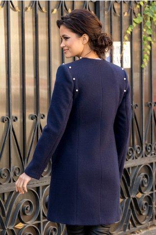 Palton bleumarin din lana cu perle aplicate
