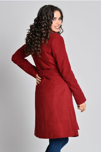 Palton bordo Aura Carina cu broderie la buzunare