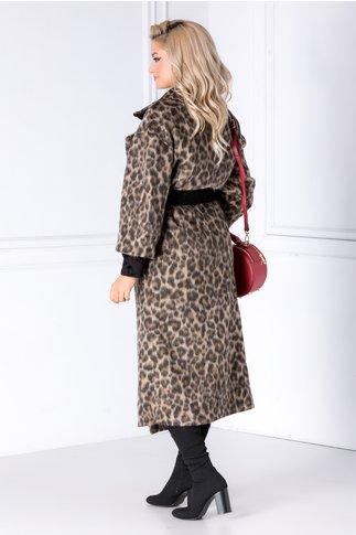 Palton Caty cu animal print si curea  in talie