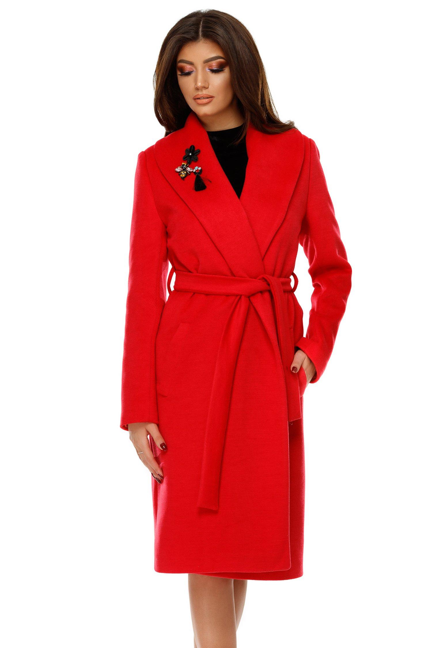 Palton Cezara rosu din stofa cu aplicatii