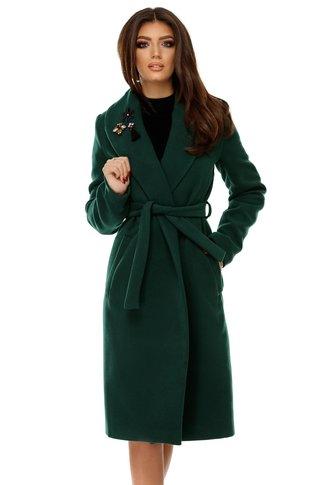 Palton Cezara verde din stofa cu aplicatii