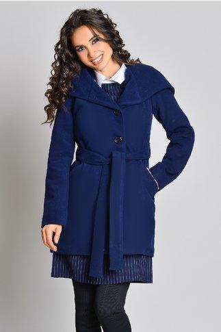 Palton dama bleumarin cu gluga