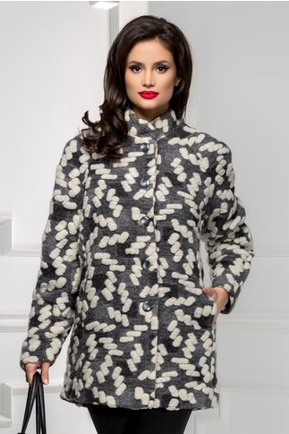Palton dama elegant alb cu gri din lana