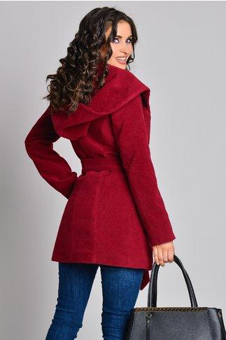 Palton elegant grena cu gluga