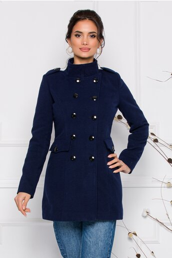 Palton Ella Collection Carla bleumarin cu buzunare