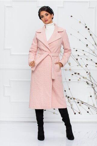Palton Ella Collection Christina roz pal cu rever si cordon in talie