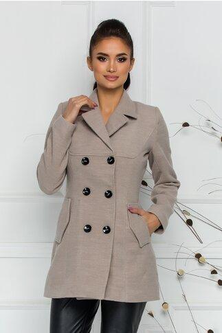 Palton Ella Collection Natalia bej cu buzunare