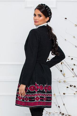 Palton Ella Collection Sonia negru cu broderie florala stilizata rosie cu gri