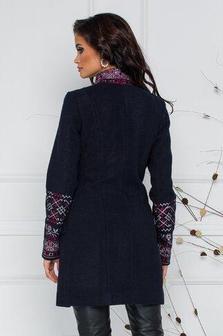 Palton Ella Collection Teo bleumarin cu broderie traditionala alb-rosie