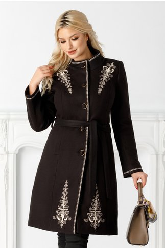 Palton Emy negru cu broderie ivory si cordon in talie