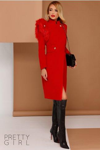 Palton Hanna rosu cu accesoriu blanita pe umar