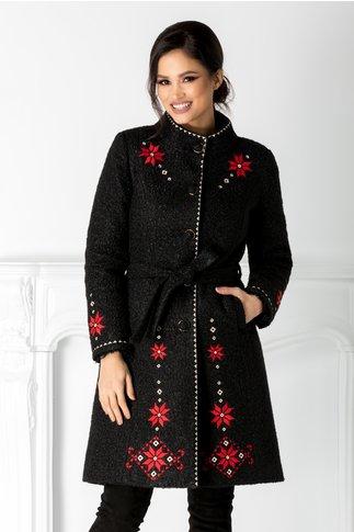 Palton Iarina negru cu broderie traditionala