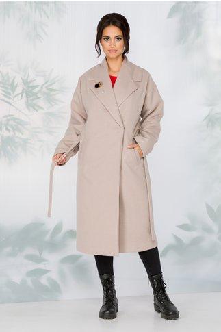 Palton LaDonna bej lejer cu cordon in talie detasabil