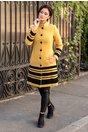 Palton LaDonna galben mustar cu insertii din catifea brodata