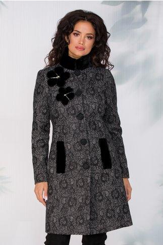 Palton LaDonna gri cu broderie florala neagra