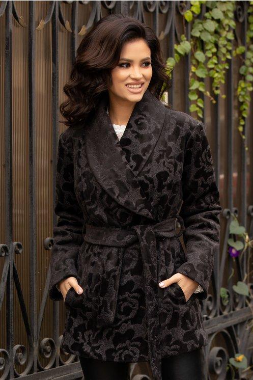 Palton Ladonna gri cu insertii florale negre