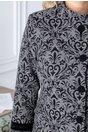 Palton LaDonna gri cu insertii negre