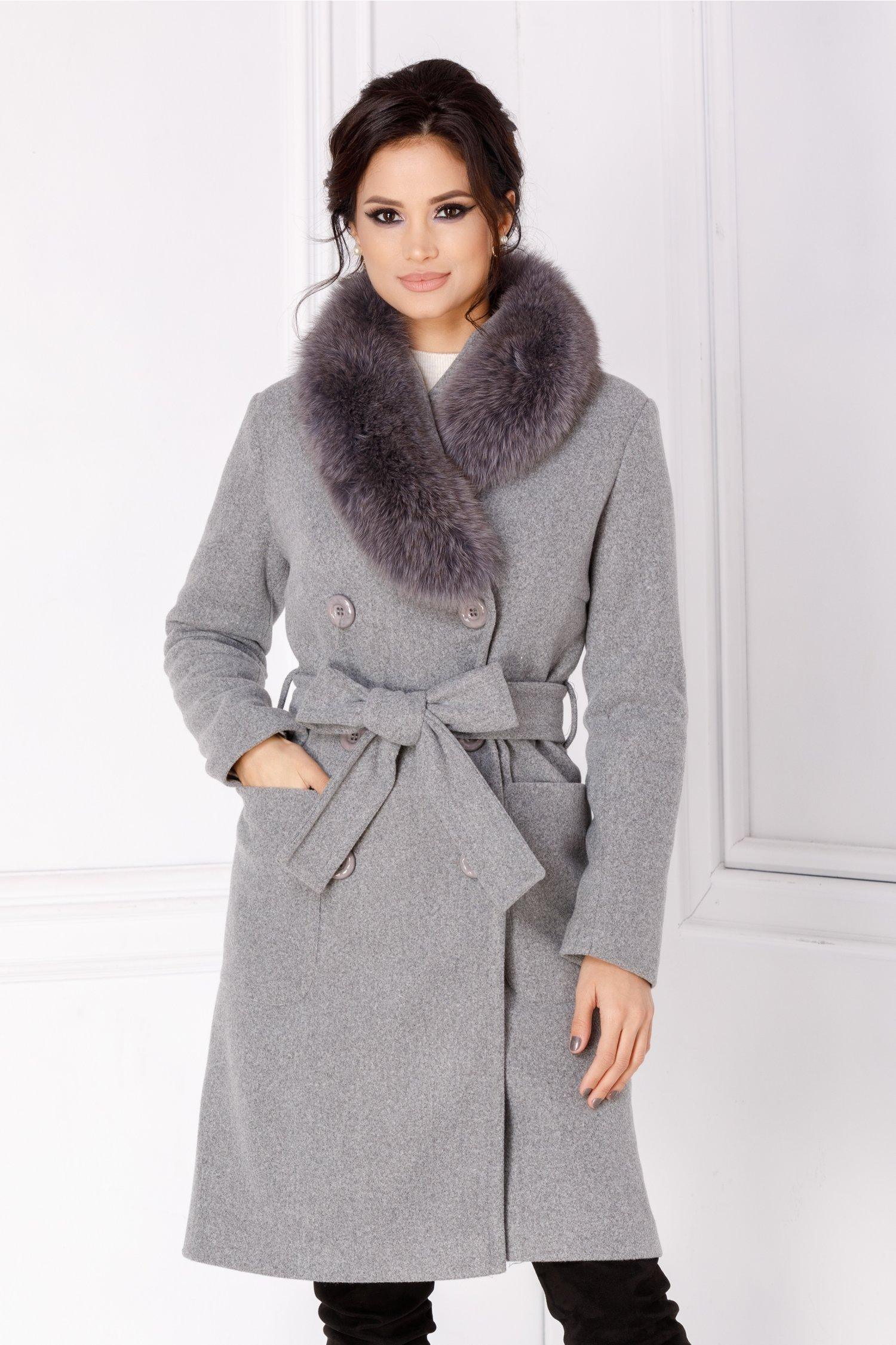 Palton LaDonna gri cu rever accesorizat cu blanita naturala