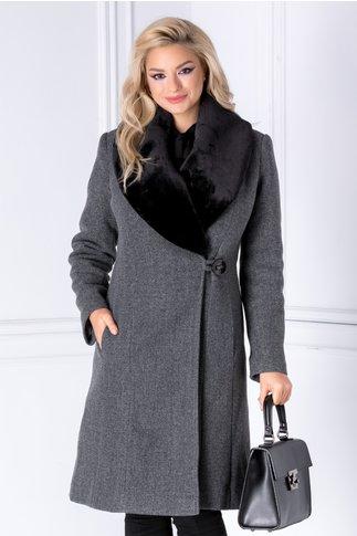 Palton LaDonna gri cu rever din blana