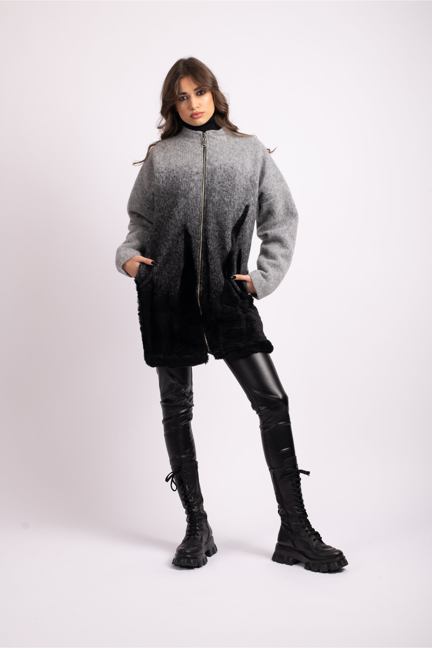Palton LaDonna gri din lana in degrade