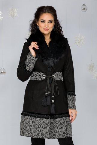Palton LaDonna negru cu broderie la baza si guler negru