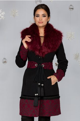 Palton LaDonna negru cu broderie la baza si maneci si guler bordo detasabil