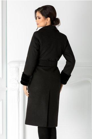 Palton LaDonna negru cu cordon in talie