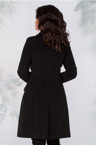 Palton LaDonna negru cu nasturi perlati