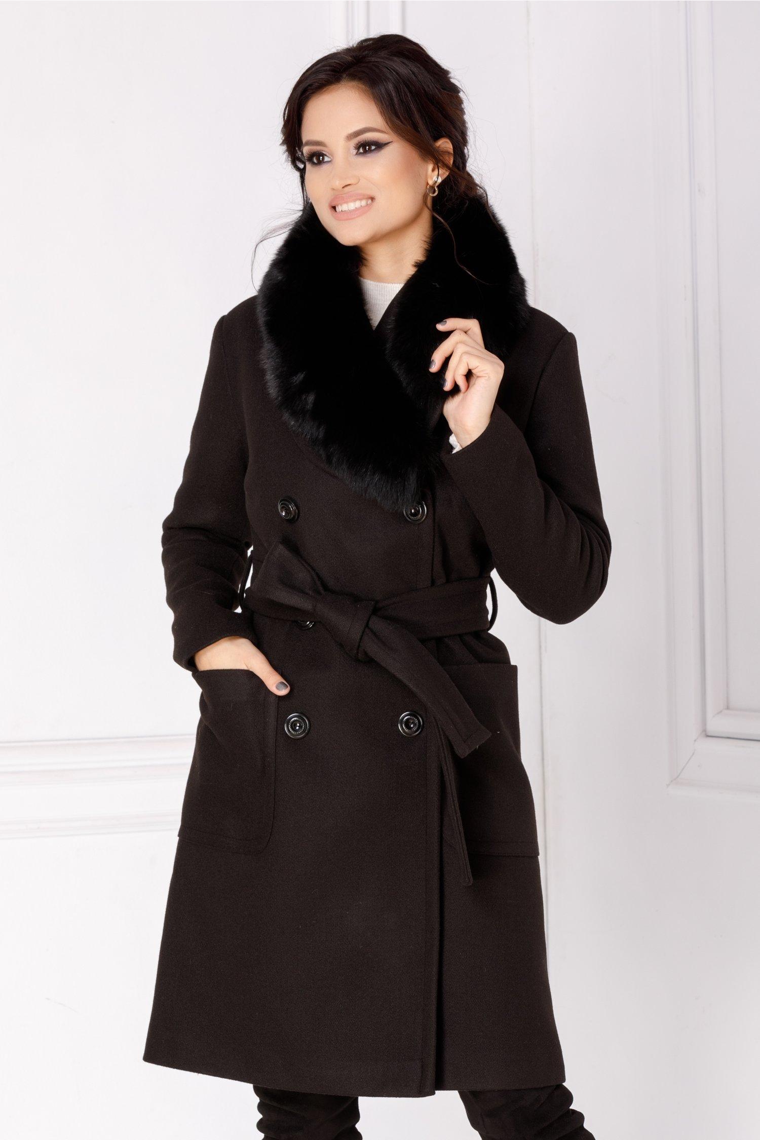 Palton LaDonna negru cu rever accesorizat cu blanita naturala