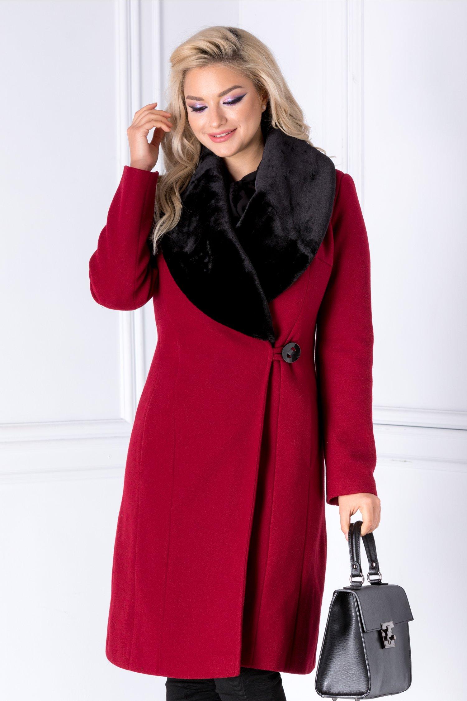 Palton LaDonna rosu cu rever din blanita